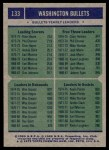 1975 Topps #133   -  Elvin Hayes / Clem Haskins / Wes Unseld / Kevin Porter Bullets Leaders Back Thumbnail