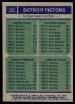 1975 Topps #121   -  Dave Bing / John Mengelt / Bob Lanier Pistons Team Leaders Back Thumbnail