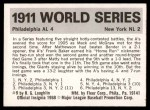 1971 Fleer World Series #9   1911 Giants / A's Back Thumbnail