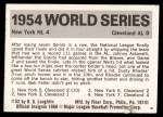 1971 Fleer World Series #52   1954 Giants / Indians Back Thumbnail
