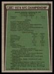 1975 Topps #526   -  Terry Bradshaw / Franco Harris AFC Championship Game Back Thumbnail