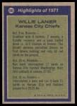 1972 Topps #283   -  Willie Lanier All-Pro Back Thumbnail