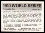 1971 Fleer World Series #8   1910 A's / Cubs  Back Thumbnail