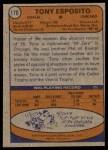 1974 Topps #170  Tony Esposito  Back Thumbnail