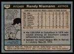 1980 Topps #469  Randy Niemann    Back Thumbnail