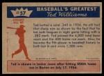 1959 Fleer #57   -  Ted Williams 400th Homer Back Thumbnail