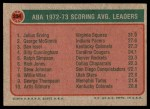 1973 Topps #234  Julius Erving / McGinnis / Dan Issel  Back Thumbnail