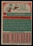 1973 Topps #200  Billy Cunningham  Back Thumbnail