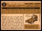 1960 Topps #17  Johnny Callison  Back Thumbnail