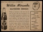 1958 Hires Root Beer #32 xTAB Willie Miranda  Back Thumbnail