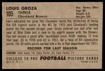 1952 Bowman Large #105  Lou Groza  Back Thumbnail