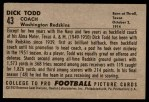 1952 Bowman Large #43  Dick Todd  Back Thumbnail