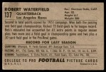 1952 Bowman Large #137  Bob Waterfield  Back Thumbnail