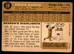 1960 Topps #10  Ernie Banks  Back Thumbnail