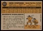 1960 Topps #363  Gene Stephens  Back Thumbnail