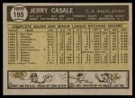 1961 Topps #195  Jerry Casale  Back Thumbnail