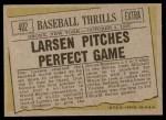 1961 Topps #402   -  Don Larsen Baseball Thrills Back Thumbnail
