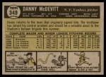1961 Topps #349  Danny McDevitt  Back Thumbnail