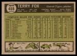 1961 Topps #459  Terry Fox  Back Thumbnail