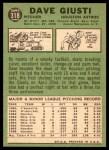 1967 Topps #318  Dave Giusti  Back Thumbnail