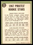 1967 Topps #123   -  Luke Walker / Jim Price Pirates Rookies Back Thumbnail