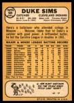 1968 Topps #508  Duke Sims  Back Thumbnail