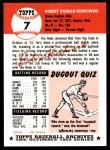 1953 Topps Archives #7  Bob Borkowski  Back Thumbnail