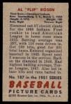 1951 Bowman #187  Al Rosen  Back Thumbnail