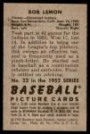 1952 Bowman #23  Bob Lemon  Back Thumbnail