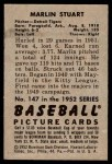 1952 Bowman #147  Marlin Stuart  Back Thumbnail