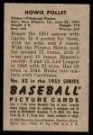 1952 Bowman #83  Howie Pollet  Back Thumbnail