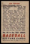 1951 Bowman #82  Joe Tipton  Back Thumbnail