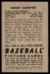 1952 Bowman #106  Randy Gumpert  Back Thumbnail