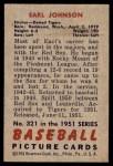 1951 Bowman #321  Earl Johnson  Back Thumbnail
