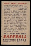 1951 Bowman #21  Snuffy Stirnweiss  Back Thumbnail