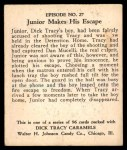 1931 Johnson Candy Dick Tracy R41 #27   Junior Dashed to Safety Back Thumbnail