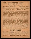 1940 Play Ball #178  Max Carey  Back Thumbnail