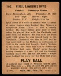 1940 Play Ball #163  Spud Davis  Back Thumbnail