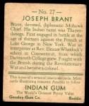 1933 Goudey Indian Gum #27  Joseph Brant   Back Thumbnail