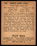 1940 Play Ball #169  Gabby Street  Back Thumbnail