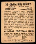 1948 Leaf #36  Bill Dudley  Back Thumbnail