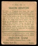1933 Goudey Indian Gum #63  Simon Kenton   Back Thumbnail