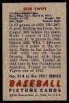 1951 Bowman #214  Bob Swift  Back Thumbnail