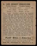 1939 Play Ball #6  Leo Durocher  Back Thumbnail