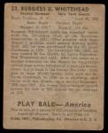 1939 Play Ball #23  Burgess Whitehead  Back Thumbnail