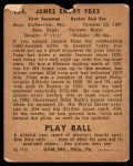 1940 Play Ball #133  Jimmie Foxx  Back Thumbnail