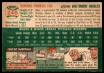 1954 Topps #246  Howard Fox  Back Thumbnail