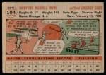 1956 Topps #194  Monte Irvin  Back Thumbnail