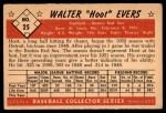 1953 Bowman #25  Hoot Evers  Back Thumbnail