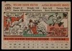 1956 Topps #185  Billy Bruton  Back Thumbnail